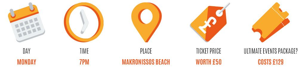 Day: Monday, Time: 7pm, Place: Makronissos beach, Worth: £50, Event package: 129
