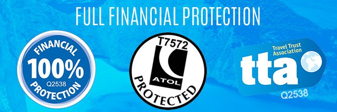 Financial Protection, ATOL Protected and TTA.
