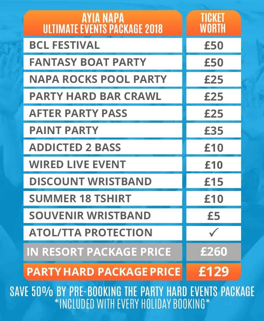 Ayia Napa 2018 Ultimate Events Package Table