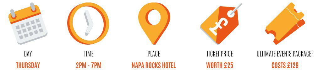 Day: thursday, Time: 2pm-7pm, Place: napa rocks hotel, Worth: £25, Event package: 129