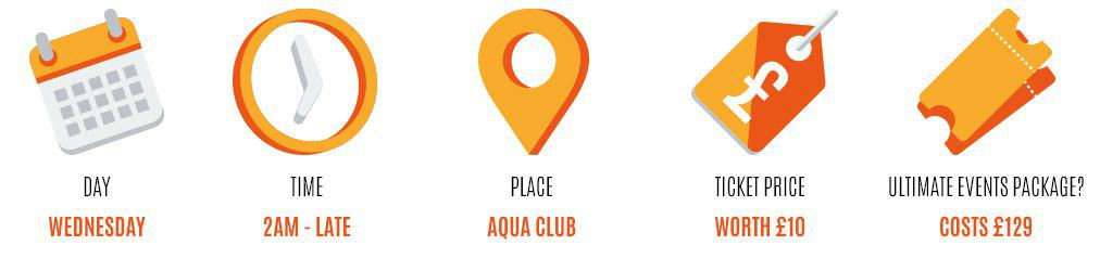 Day: Wednesday, Time: 2am-late, Place: aqua club, Worth: £10, Event package: 129