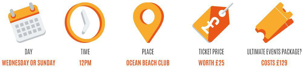Day: Wednesday, Time: 12pm, Place: ocean beach club, Worth: £25, Event package: 129