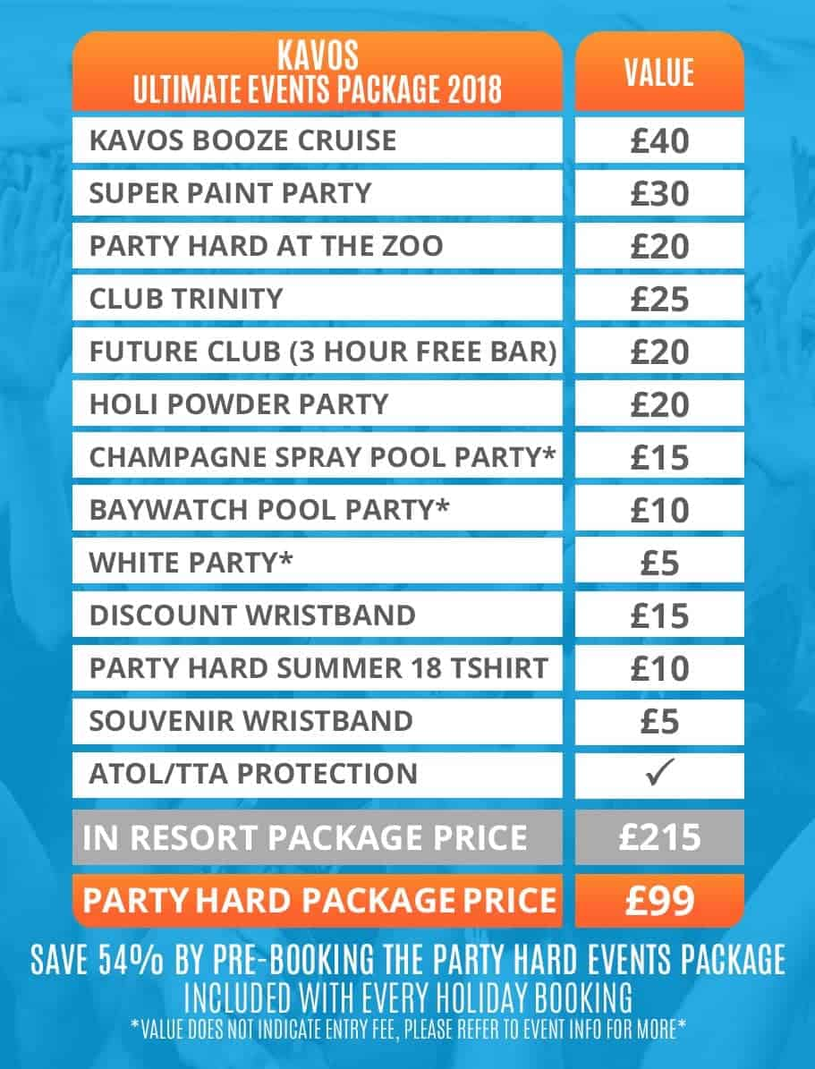 Kavos Events Package 2019 - Party Hard Travel