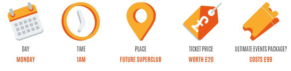 Day: Monday, Time: midnight, Place: future club, Worth: £20, Event package: 99