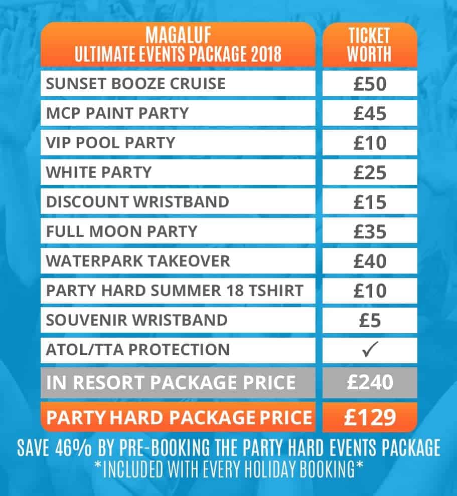 Magaluf 2018 Table of Ultimate Events Packages