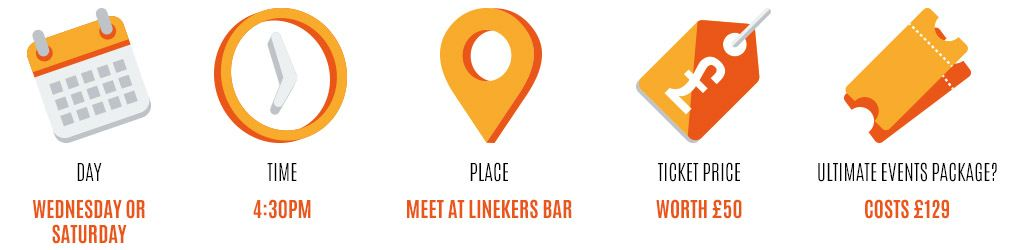 Day: wednesday or saturday, Time: 4:30pm, Place: meet at linekers bar, Worth: £50, Event package: £129