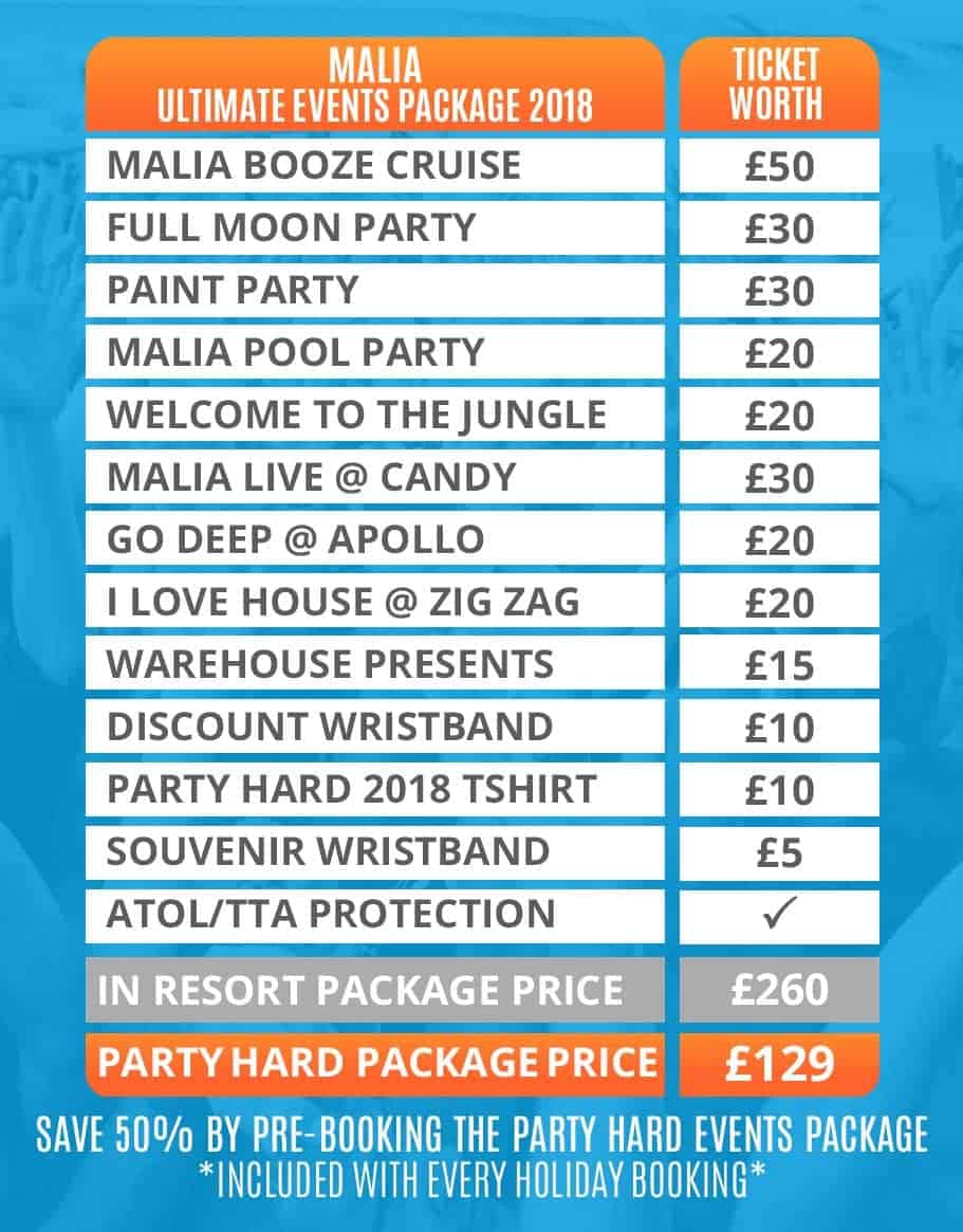 Malia 2018 Table of Ultimate Events Packages