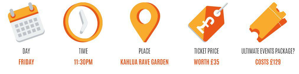 Day: friday, Time: 2pm-7pm, Place: kahula rave garden, Worth: £35, Event package: 129