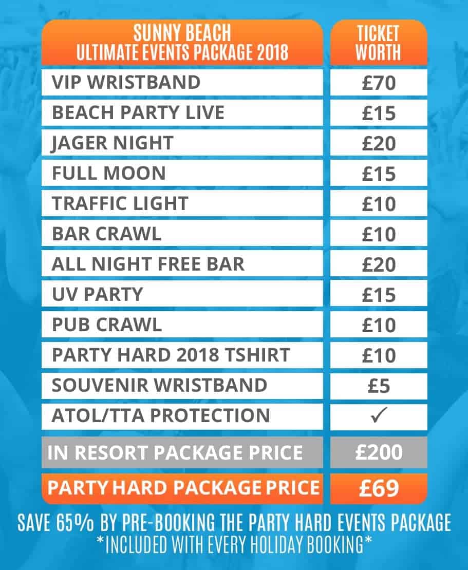 Sunny Beach 2018 Table of Ultimate Events Packages