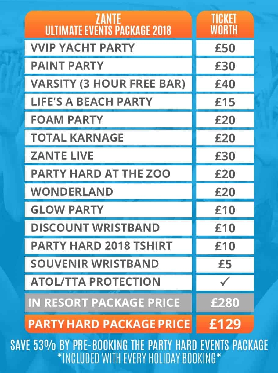 Zante 2018 Table of Ultimate Events Packages