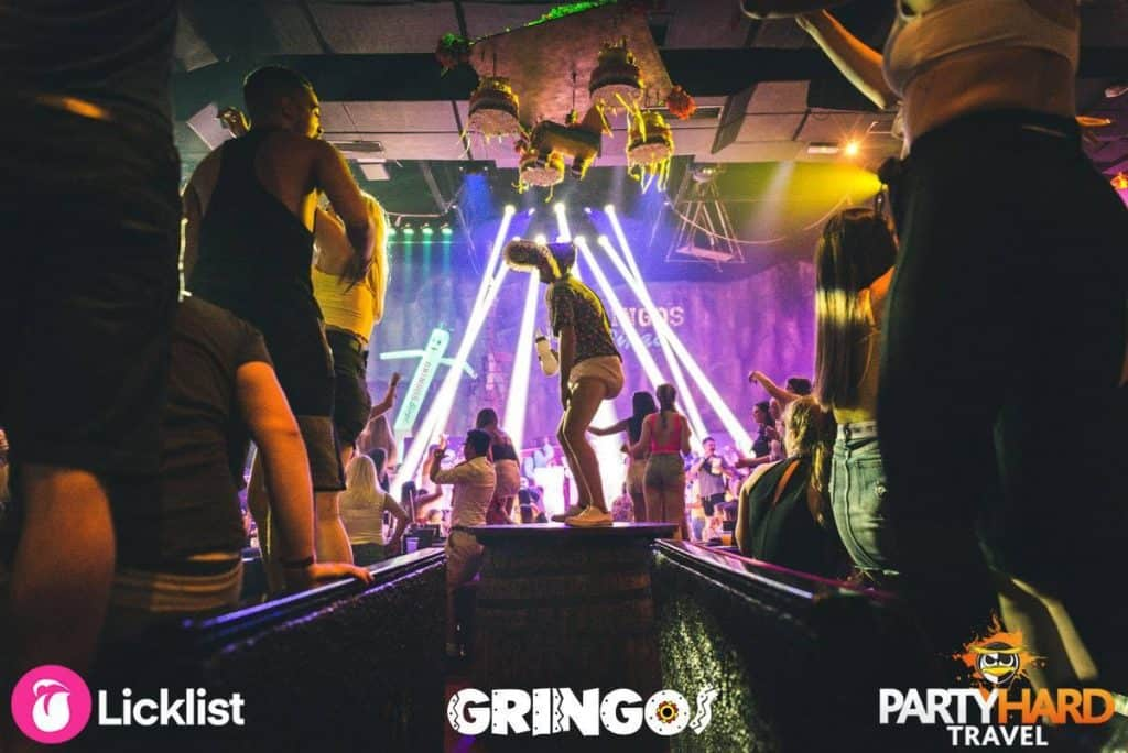 Gringos Mexican themed bingo party night in Magaluf, participant on stage