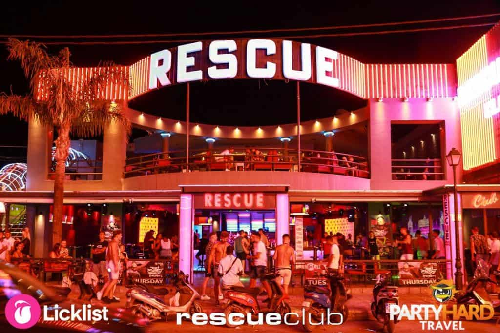 Exterior of Rescue Club Zante at Night, Packed With Revellers