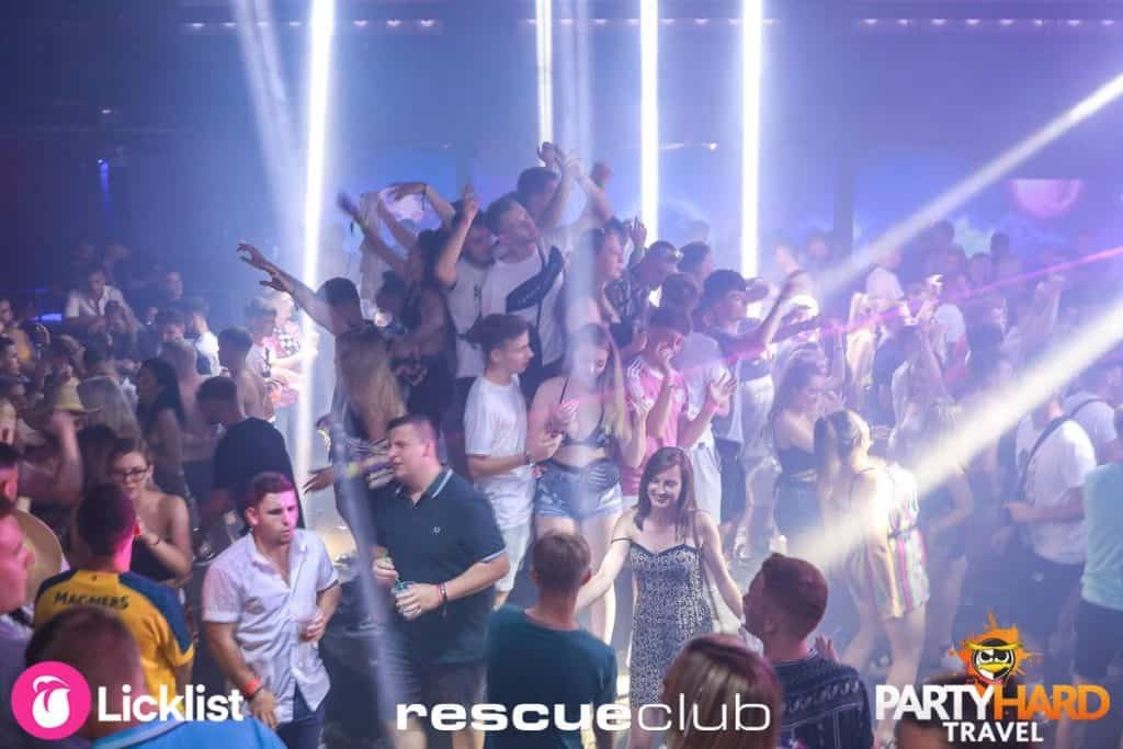Spotlight on Large Group of Clubbers at Rescue Club, Zante