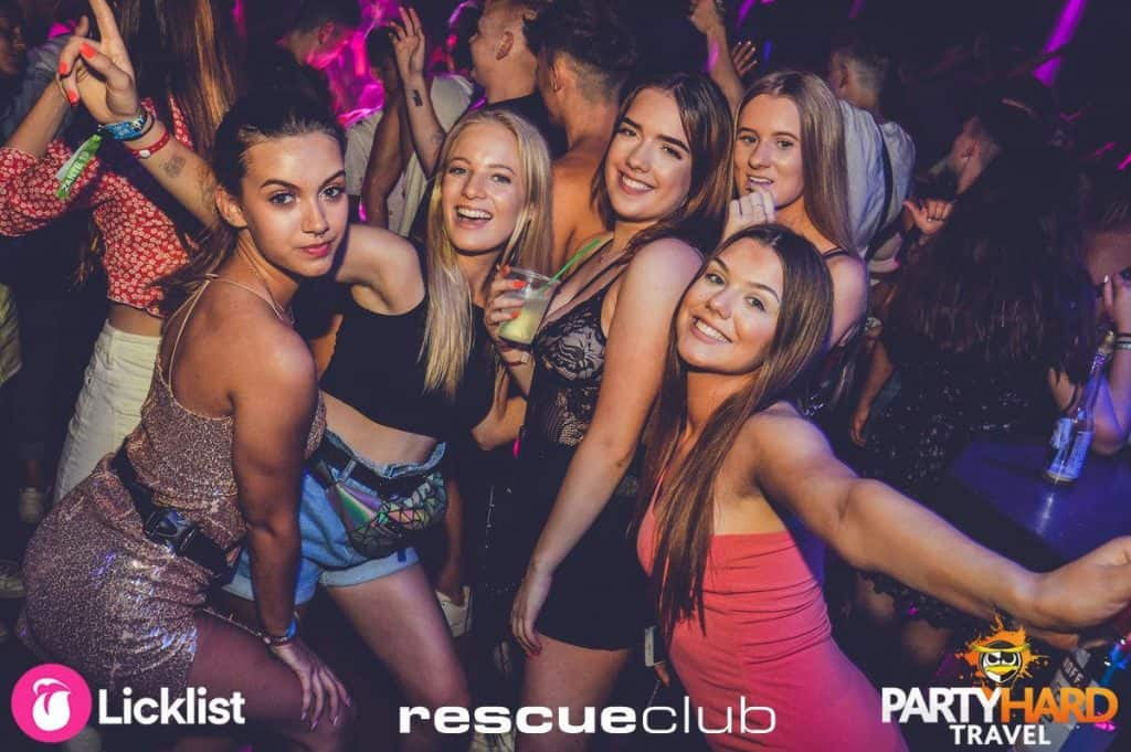 Group of Girls celebrating on the dancefloor at Zante's Popular Rescue Club