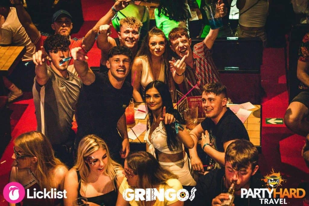 Lads and Girls excited ready to play Bingo at famous Gringos club, Magaluf
