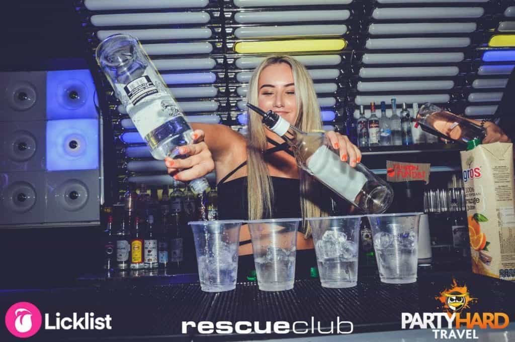 Rescue Club: Female Bar Staff Pouring Four Cups of Vodka, Laganas, Zante