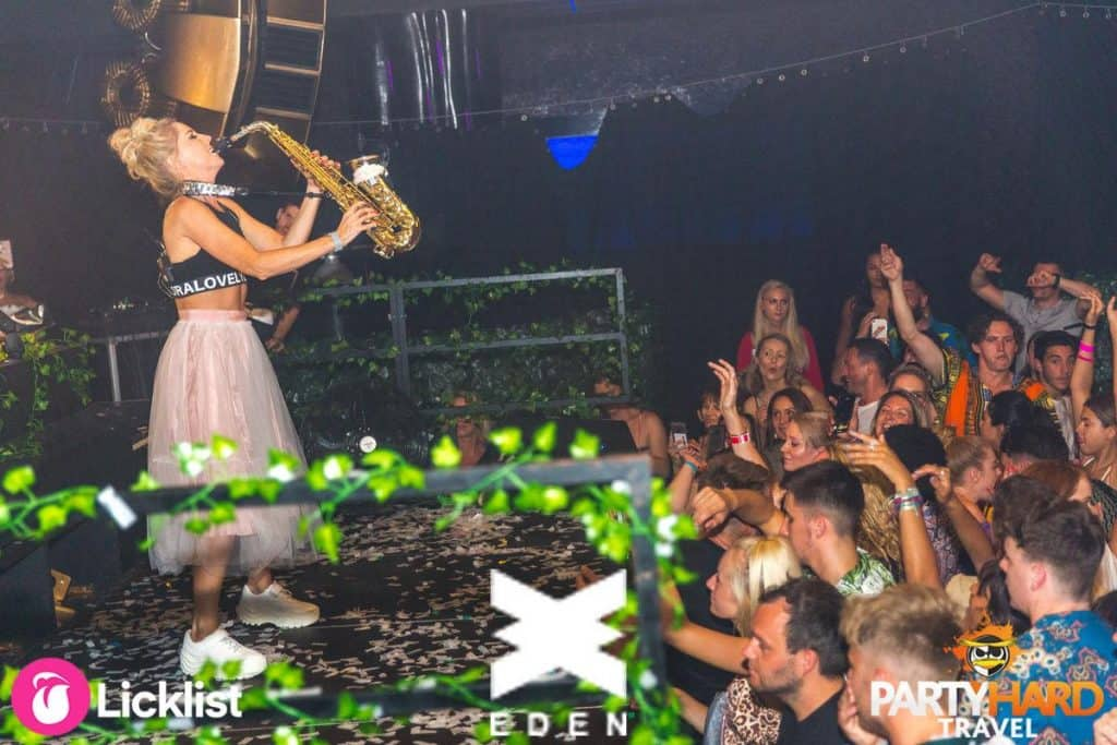 Lovely Laura plays Saxophone on stage at WNDRLND event Ibiza