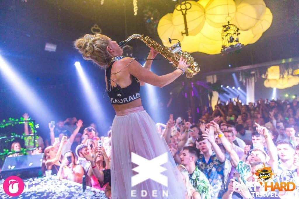 Saxophone Player Lovely Laura wows the crowd on stage at WNDRLND Ibiza