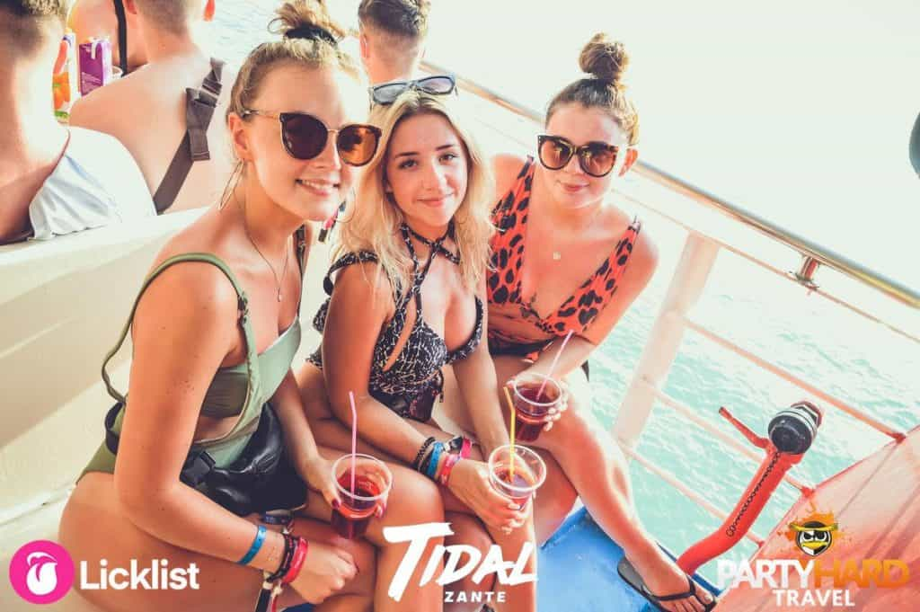Three girls chilling out on board the Tidal Booze Cruise