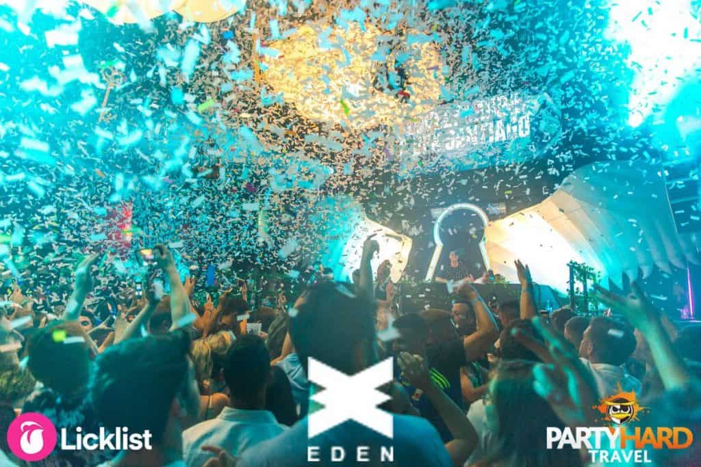 WNDRLND clubbing event, ticker tape falling at Eden Club, Ibiza