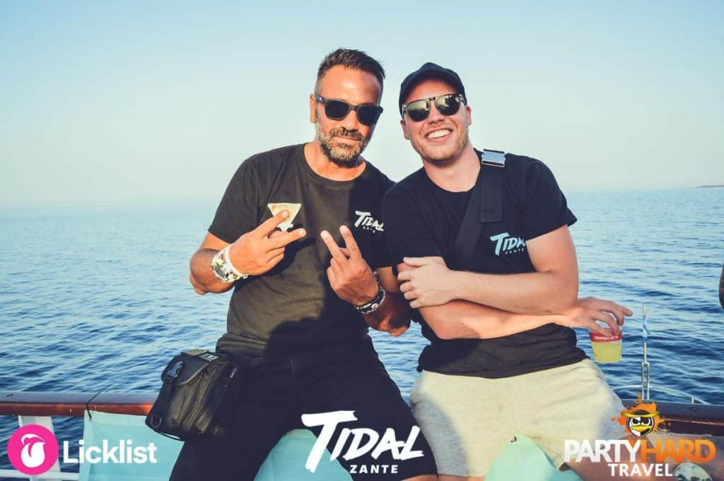 Tidal Zante Organisers taking well deserved drinks break on board the Booze Boat