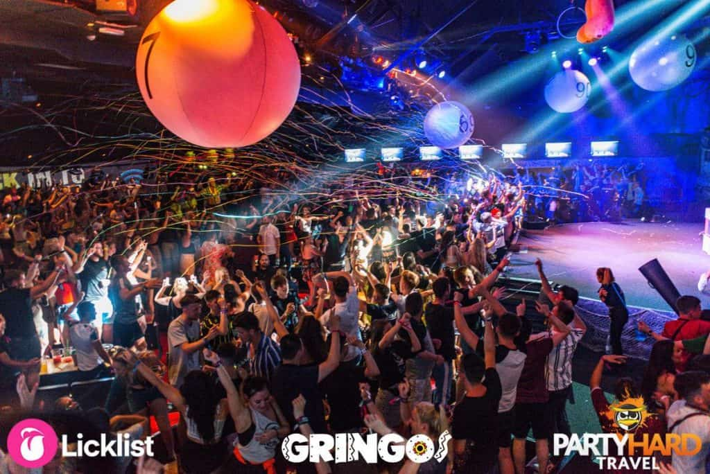 The party begins at Gringos Club Magaluf, as bingo balloons fall and streamer cannons are fired