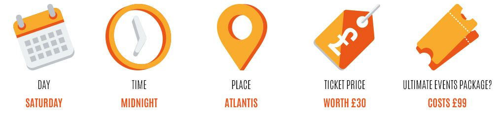 Day: Saturday, Time: midnight, Place: atlantis, Worth: £30, Event package: £99