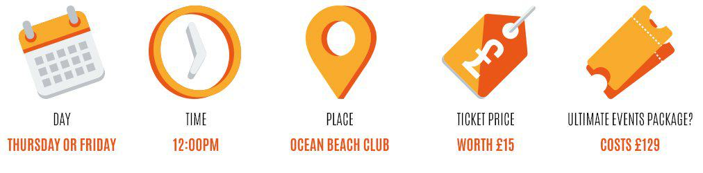 Day: thursday or friday, Time: 12pm, Place: Ocean Beach Club, Worth: £10, Event package: £129