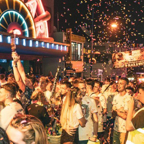 Ayia napa bar crawl confetti covering people