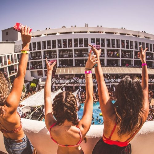 ibiza rocks hotel balcony girls arms raised ibiza on a budget
