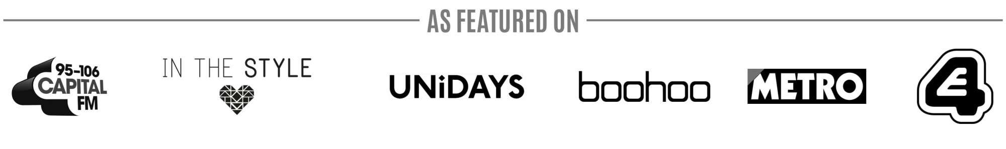 as featured on footer partners: metro, capital radio, unidays, boohoo, in the style, channel 4