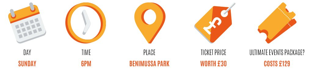 Day: sunday, Time: 7pm, Place: benimussa park, Worth: £30, Event package: 129