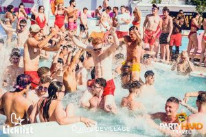 people at a pool party