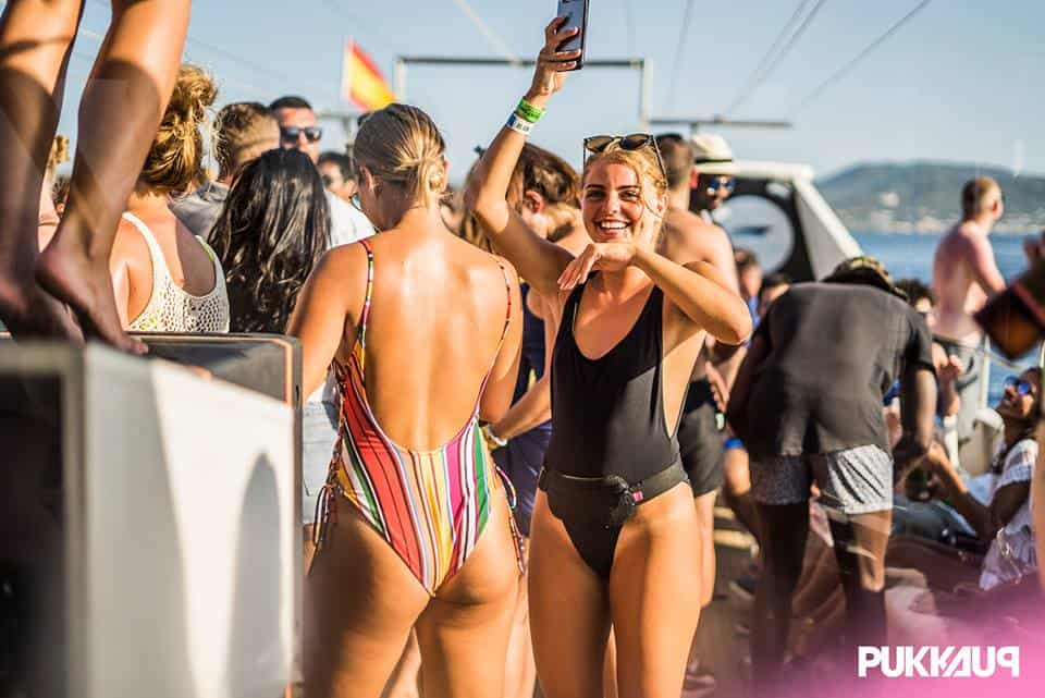 Girl take Holiday Snaps on board the Ibiza Pukka Up Booze Boat