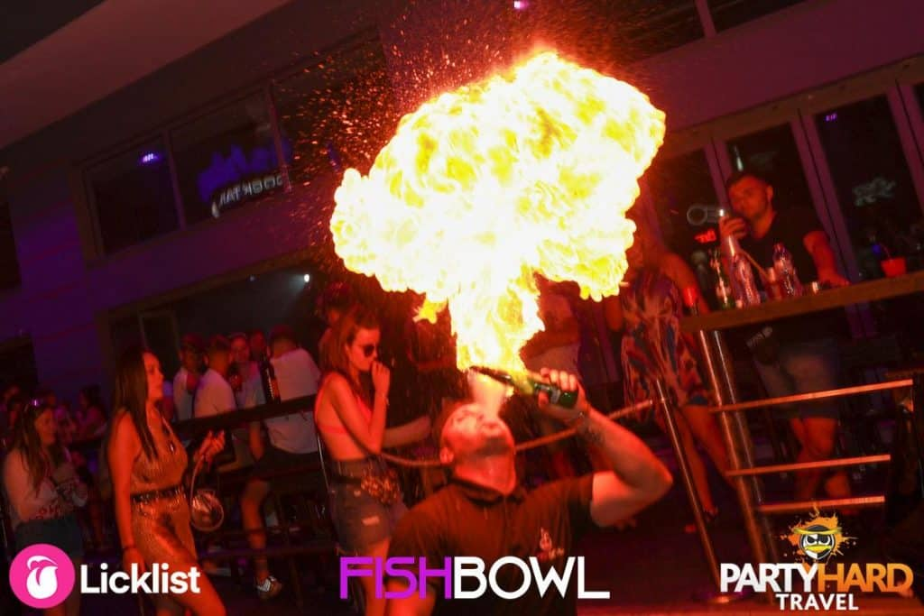 Fire Performer visually stunning effects at Fishbowl Club Zante
