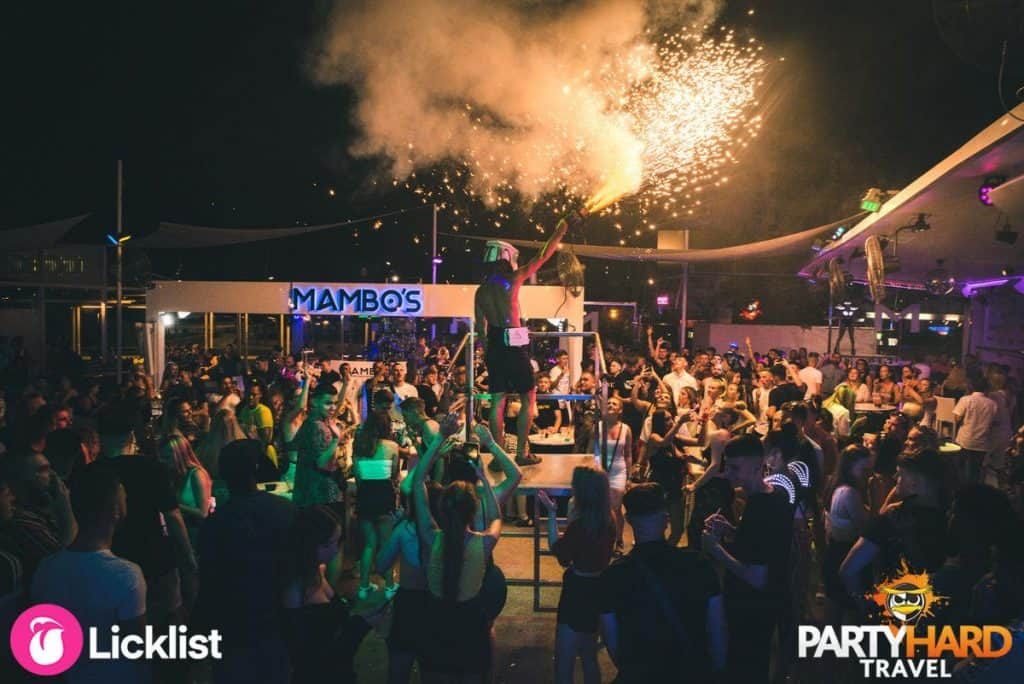 Mambo's Outdoor Party Event With Fireworks in Magaluf