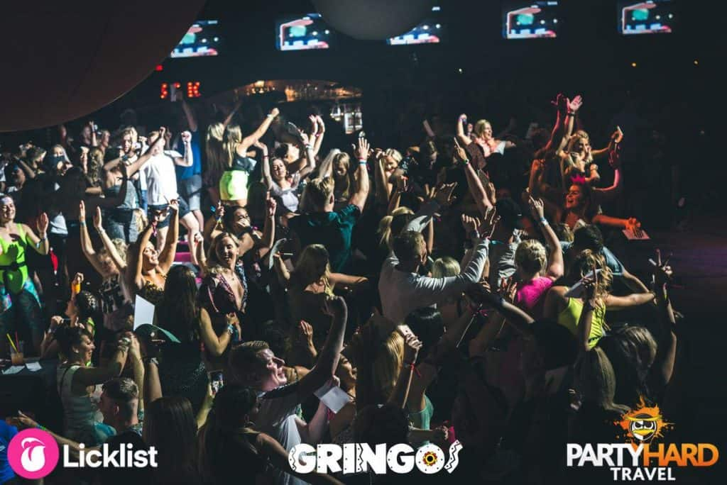 Crowd cheering the stage performance at Magaluf Gringos Club.