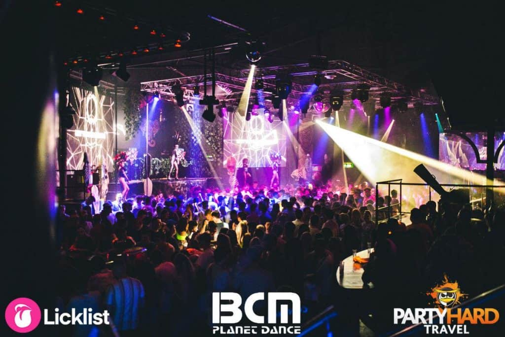 Performers on stage and amazing Lightshow at BCM Superclub in Magaluf