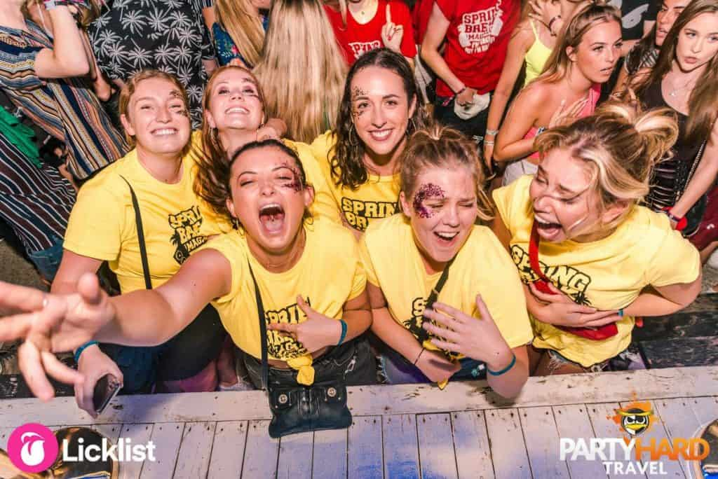 Group of Girls Going Wild Wearing Spring Break Event T-Shirts in Magaluf