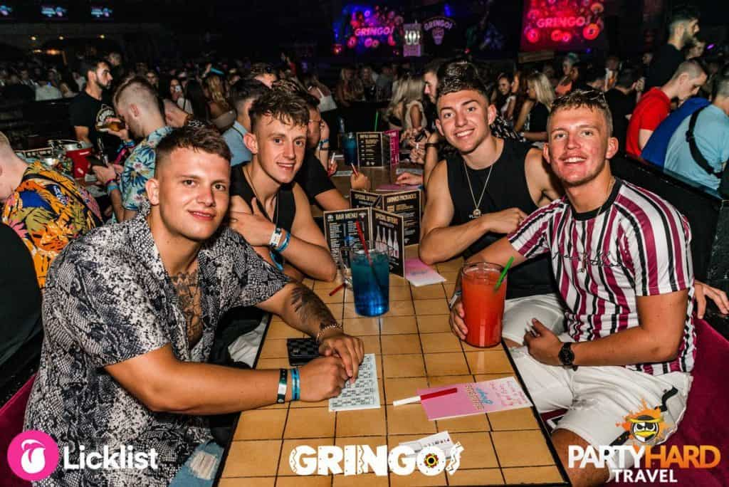 The lads can't wait for the bingo to commence at Gringos Club in Magaluf Mallorca