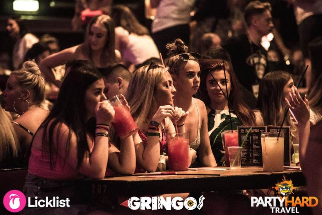 Group of Girls watching the Show at Gringos Magaluf, it's definitely not for the faint hearted!