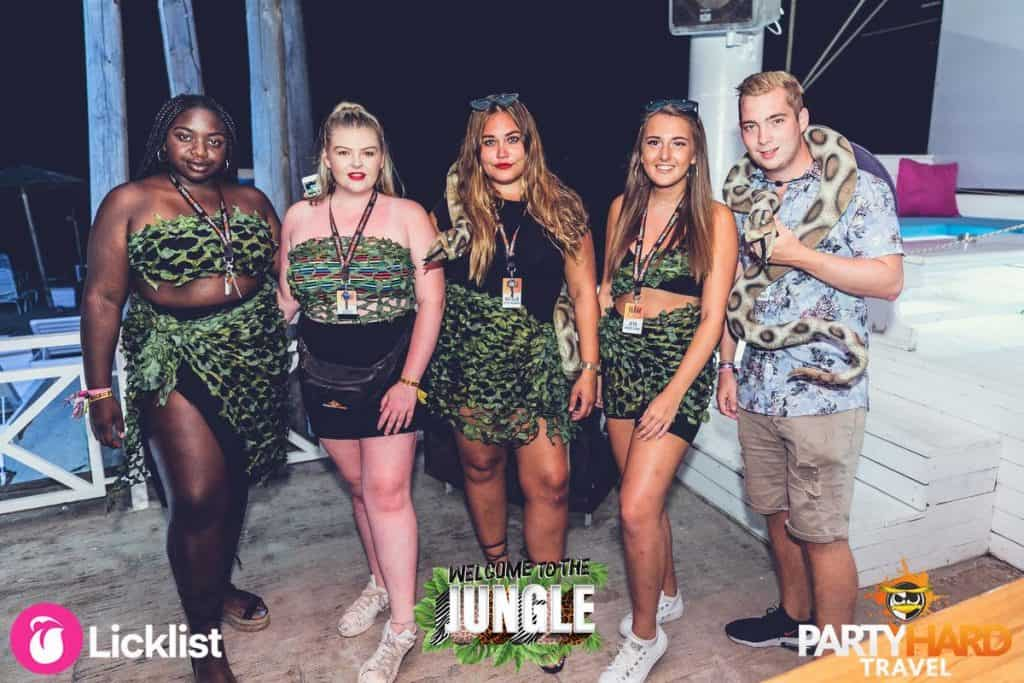 Group Girls and Lad all Dressed up Ready for the Jungle Theme Party
