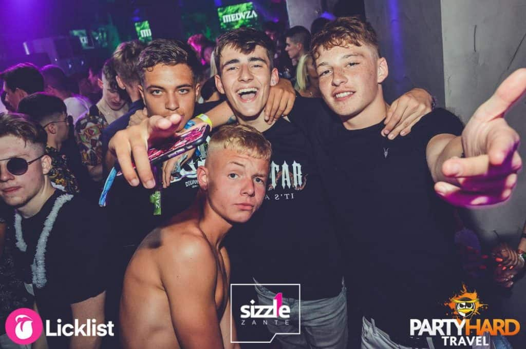 Lads celebrating wearing black at Party Meduza Night, Zante, Club