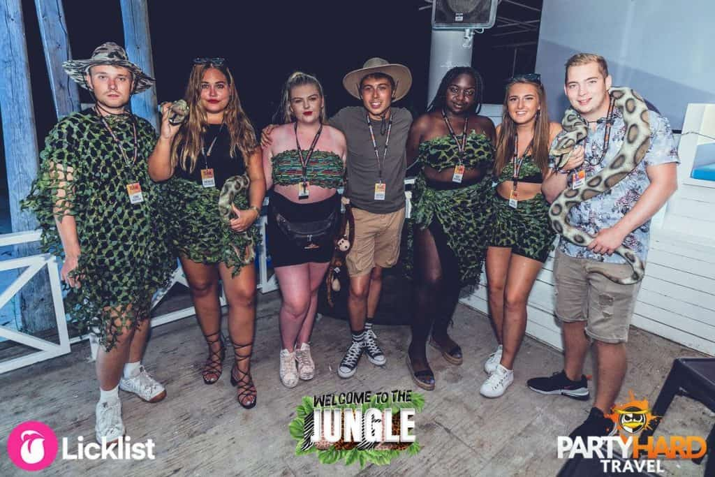 Friends Dressed for the Jungle theme Party at Future Nightclub