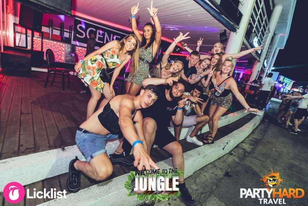 Lads and Girls, Group of Friends Celebrating Outside the Bars on the Strip, Kavos
