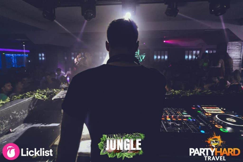 House DJ Performing behind the Mixing Decks on Welcome to the Jungle Theme Night