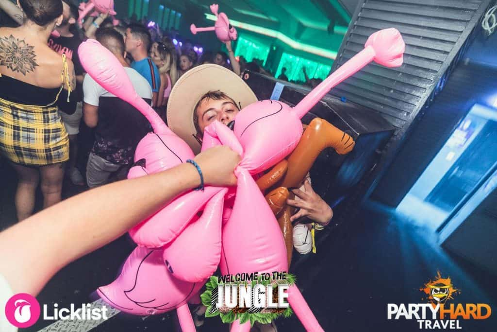Lad Carrying a Bunch Full of Inflatable Pink Flamingos and Tigers