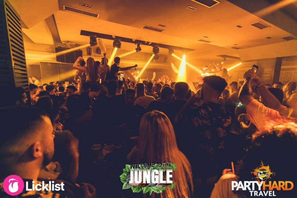 Clubbers dancing on Table tops with inflatable Bananas at Jungle Party Kavos