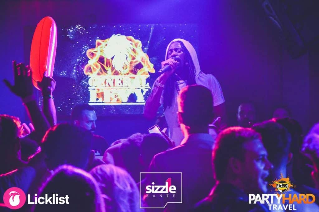 Hooded ragga deejay, General Levy performing at Sizzle Club