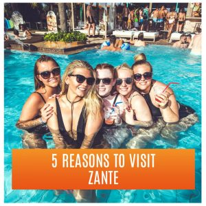 5 Reasons to Visit Zante: Five Girls in the Swimming Pool